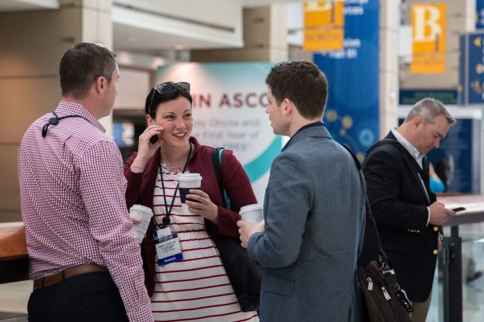 Attendees networking during during the American Society of Clinical Oncology (ASCO) Annual Meeting. Courtesy: ? ASCO/Danny Morton
