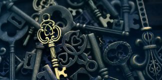 One golden key on a background of different vintage keys; finding ways to unlock treatment for Triple-Negative Breast Cancer (TNBC).