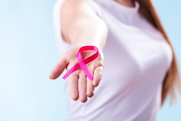 Pink breast cancer awareness ribbon.