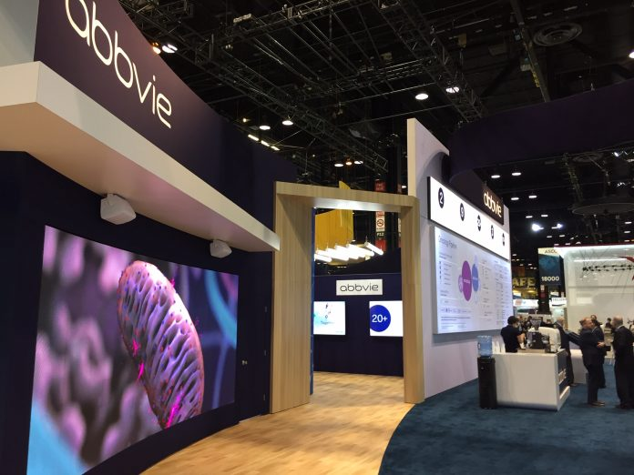 AbbVie booth at the 2019 annual meeting of the American Society of Clinical Oncology (ASCO) held June 1 - 4, 2019 in Chicago, Ill.