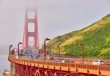 Golden Gate Bridge view at foggy morning, San Francisco, California,