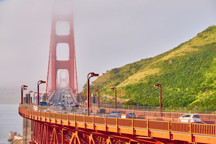 Golden Gate Bridge view at foggy morning, San Francisco, California,