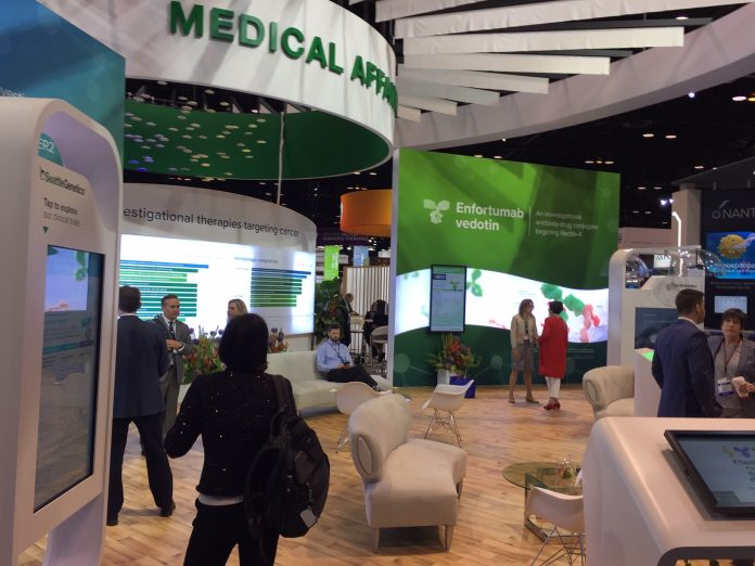 Seattle Genetics. Exhibition booth during the 2019 annual meeting of the American Society of Medical Oncology (ASCO).