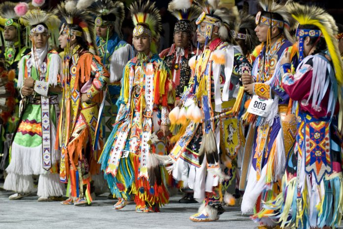 National Pow Wow Grass Dancers (2007). The grass dance or Omaha dance is a style of modern Native American men's pow wow dancing originating in the warrior societies on the Northern Great Plains. Unlike most forms of pow wow dancing, the grass dance regalia generally has no feathers besides the occasional roach feather. Verizon Center; Washington, DC. Courtesy: Smithsonian Institute/Cynthia Frankenburg.