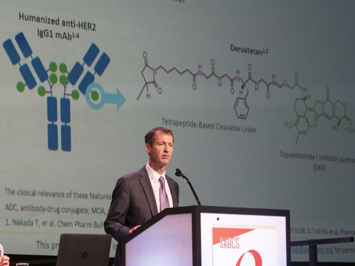 Ian E Krop, MD, Ph.D, Associate chief of the Division of Breast Oncology at Dana-Farber Cancer Institute, speaks during the General Session on Wednesday, December 11, 2019. during the San Antonio Breast Cancer Symposium being held at the Henry B. Gonzalez Convention Center in San Antonio, TX. Photo coutesy © 2019 AACR/SABCS Todd Buchanan.