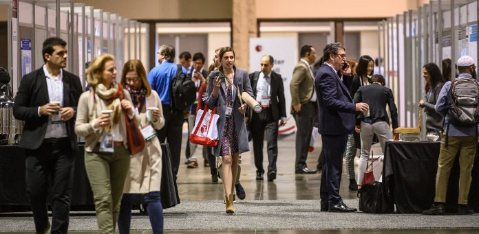 Speakers and attendees during Poster Session 1 at the American Society of Hematology 61th Annual Meeting at the Orange County Convention Center, Friday December 6, 2019. Photo Courtesy American Society of Hematology © 2019 ASH/Nick Agro