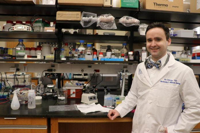 Featured Image: Joseph Delaney, Ph.D., collaborated with MUSC researchers and others to examine the role of autophagy genes in ovarian cancer. Photo courtesy: Vagney Bradley/ MUSC Hollings Cancer Center.